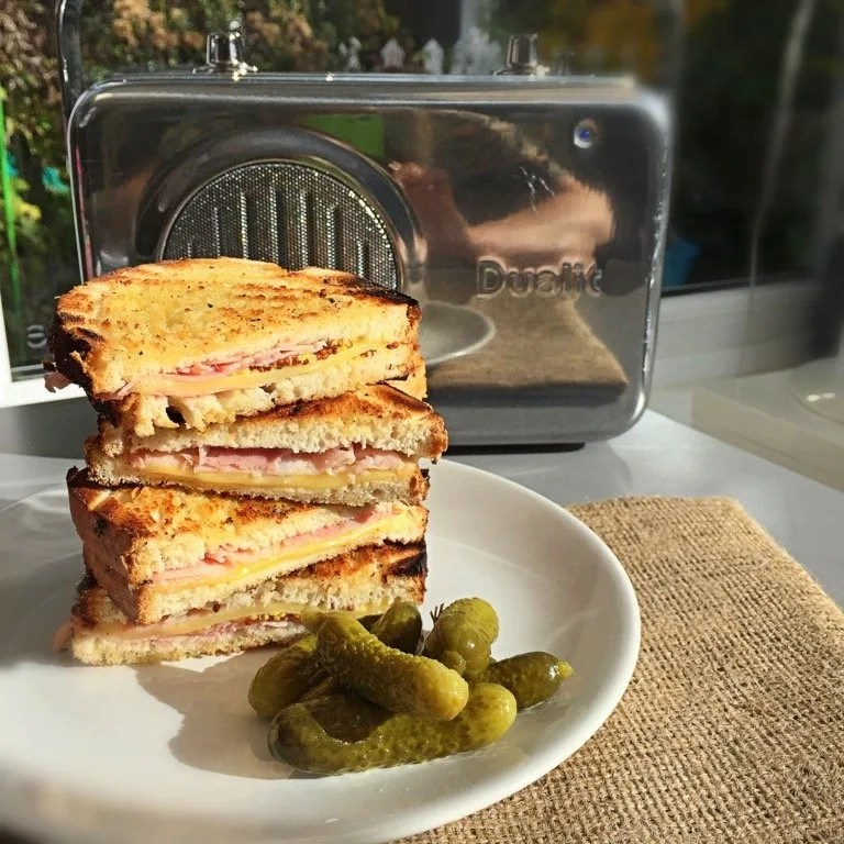 Dutch style ham and cheese toasted sandwich