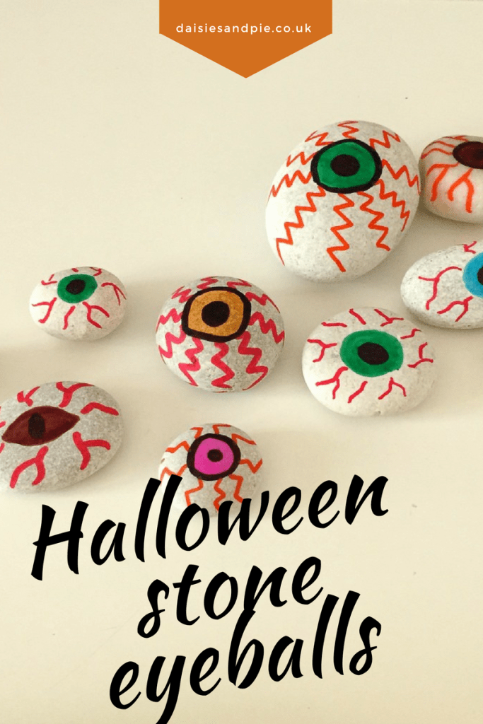 Painted stones – eyeballs for Halloween