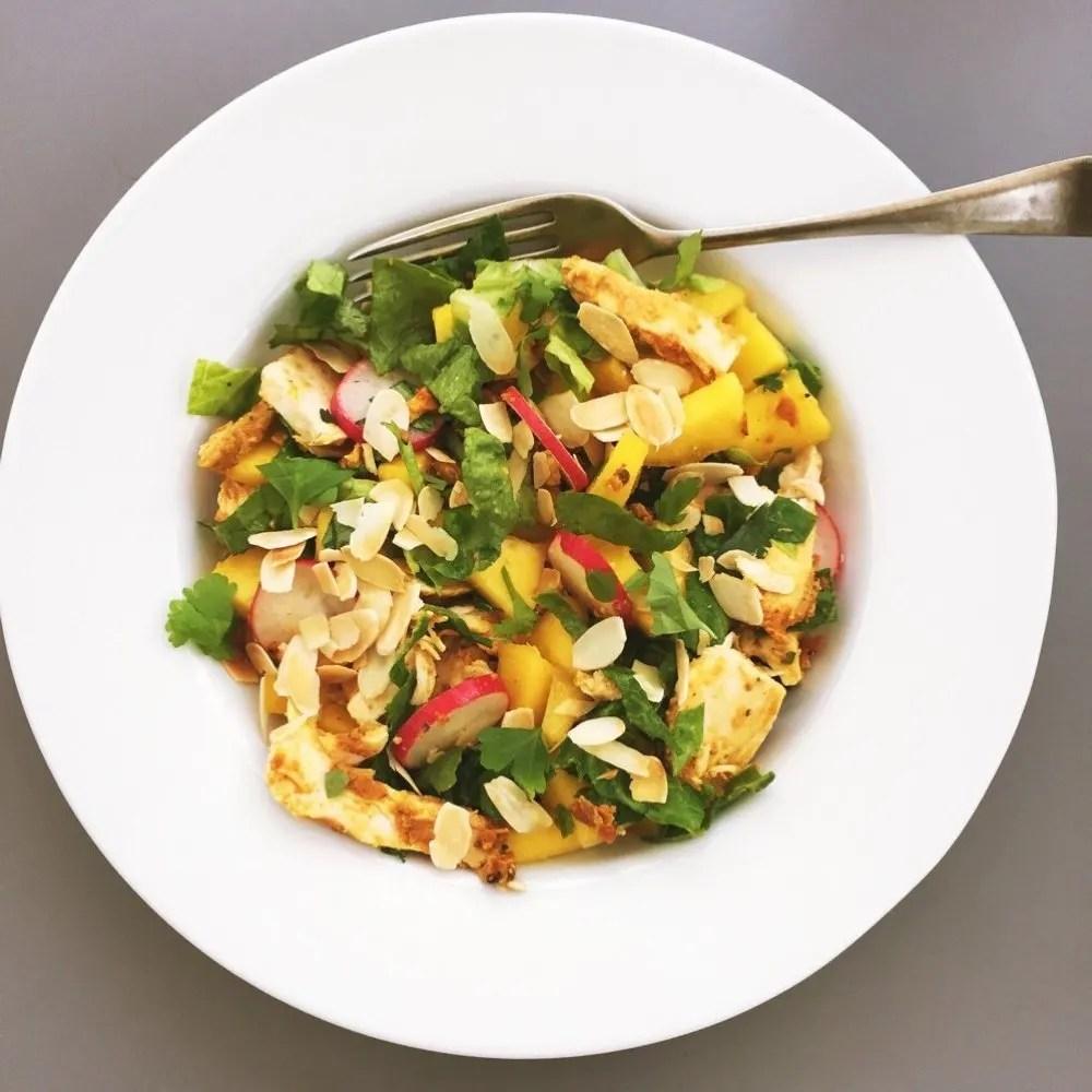 Chicken tikka and mango salad recipe, healthy dinner recipes
