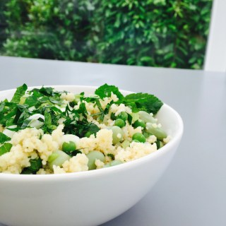 bowl full of lemony couscous with peas and beans from daisies and pie