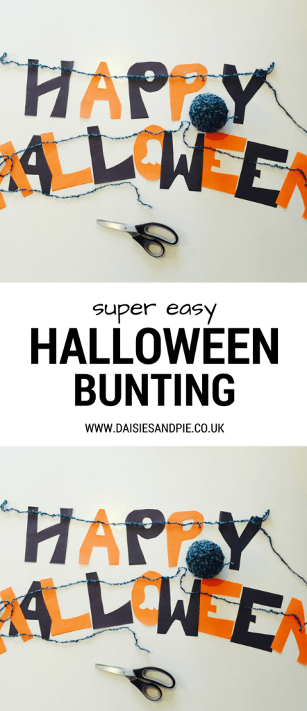 Really easy Halloween bunting, super easy Halloween decorations, Halloween party ideas