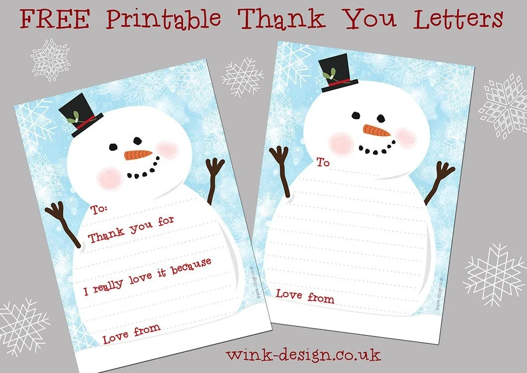 snowman thank you letters, christmas thank you letters, free printable thank you letters, fun stuff for kids from daisies and pie