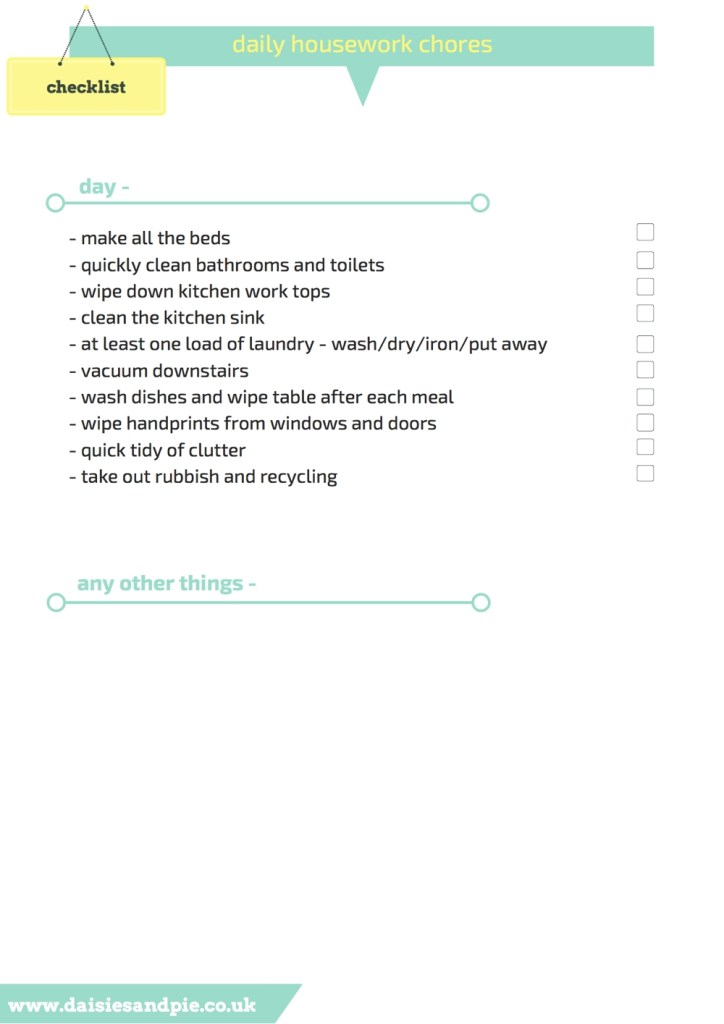 daily housework checklist, printable daily housework checklist, homemaking tips,
