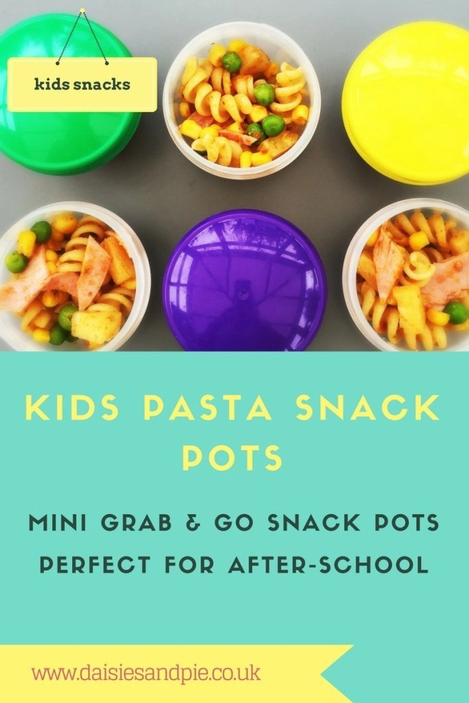 kids pasta snack pots, snack ideas for kids, easy pasta salad for kids, easy family food from daisies and pie