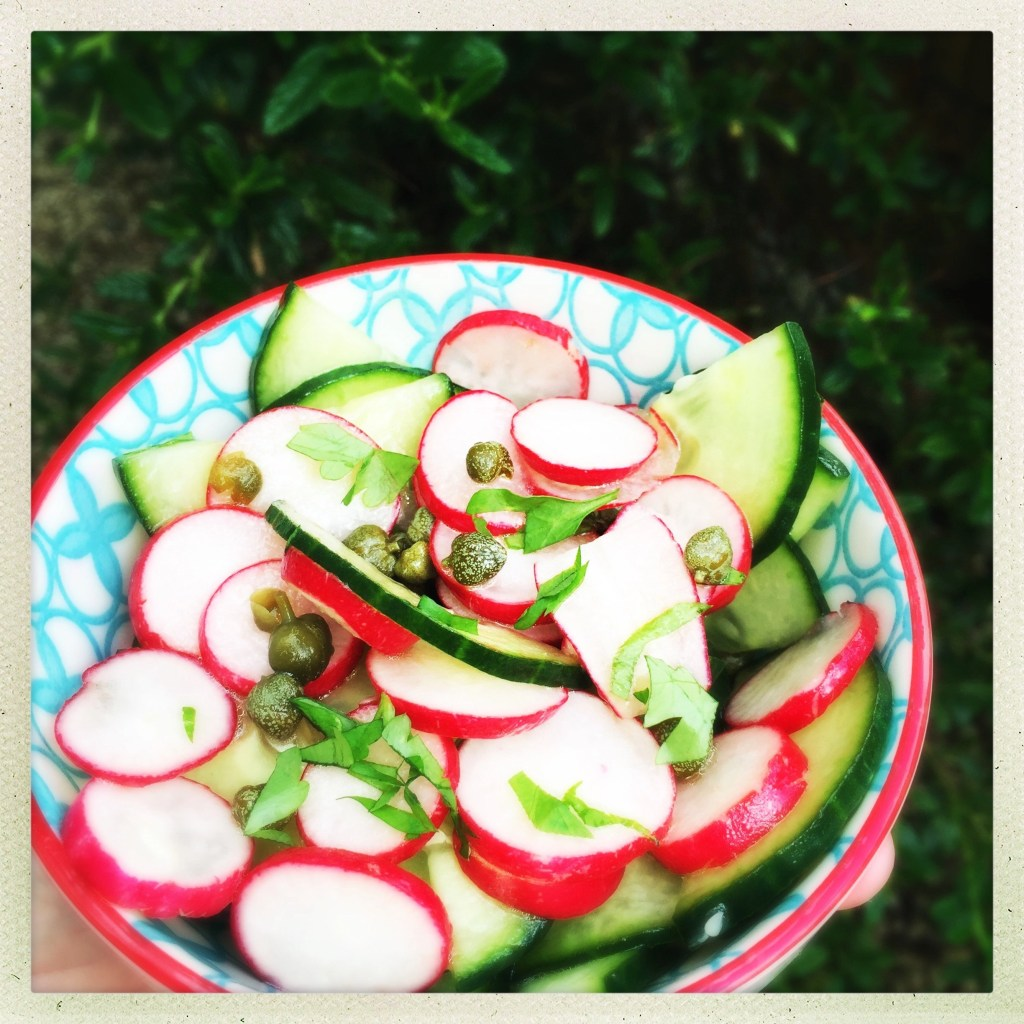 radish salad with lemon dressing, quick side salad with cucumber, easy family food from daisies and pie