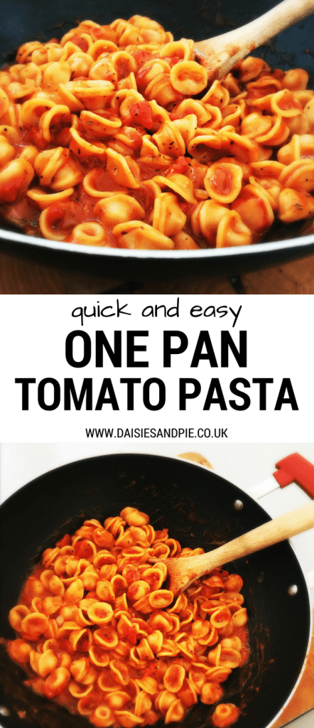 Quick and easy one pan tomato pasta, easy midweek dinner you can flavour up with a selection of toppings, quick pasta recipe