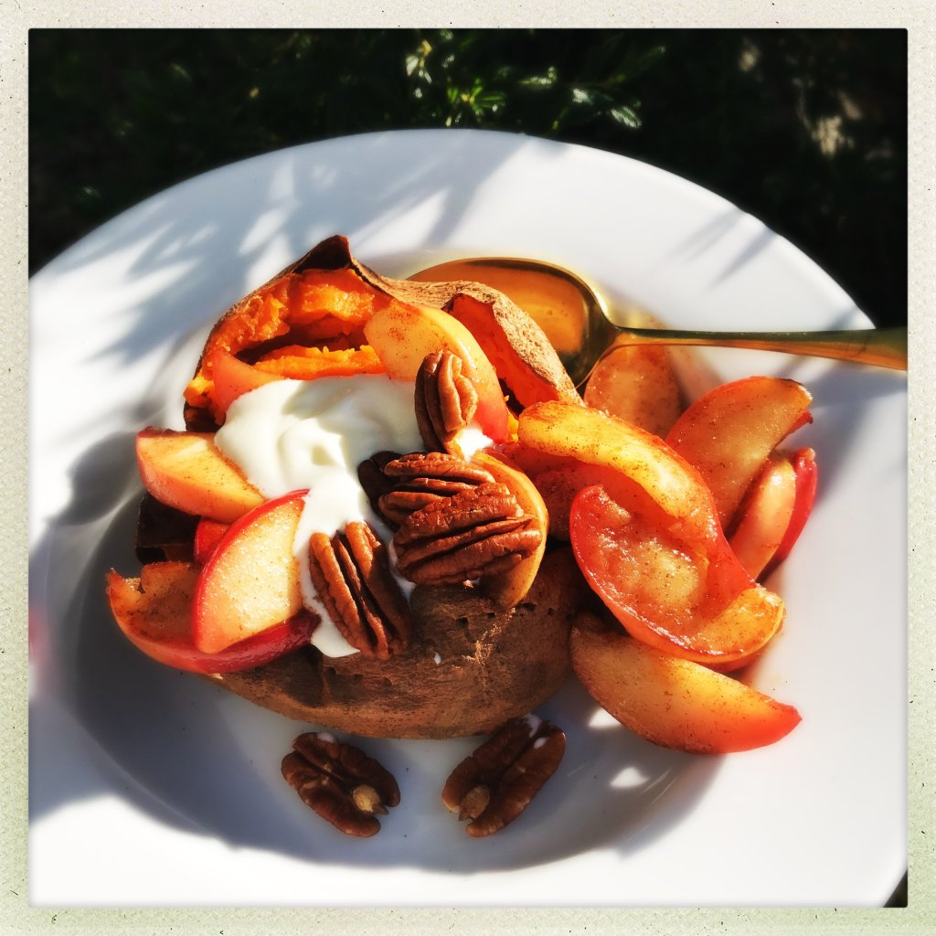 Baked sweet potato with cinnamon apples