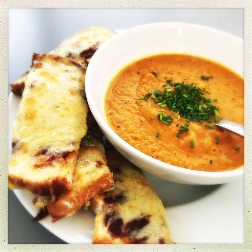 Sweet potato soup with grilled cheese dippers