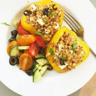 Quick quinoa and feta stuffed peppers, quick vegetarian recipes, easy meal ideas