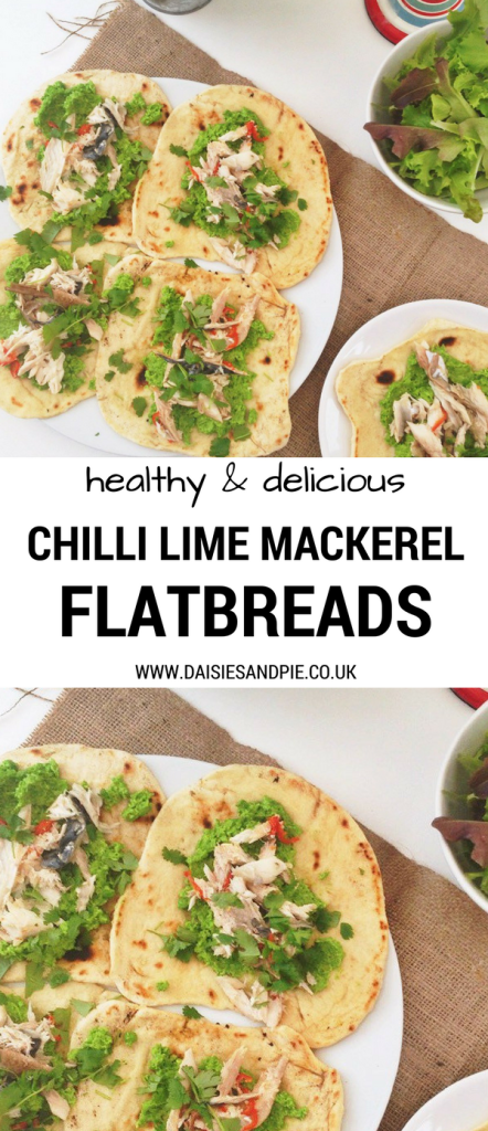 Chilli and lime mackerel with homemade flatbreads and spicy mushy peas, easy mackerel recipe, healthy dinner recipe ideas