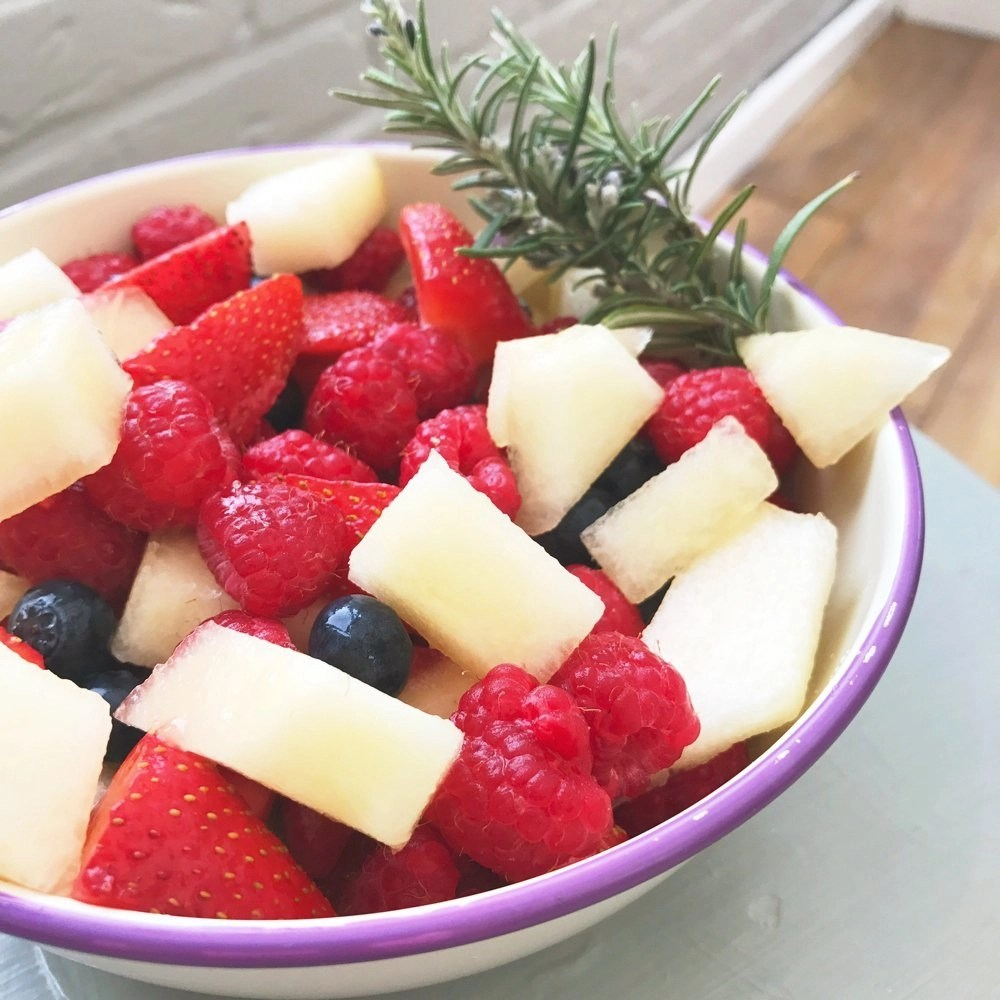 Juicy summer berry and melon salad