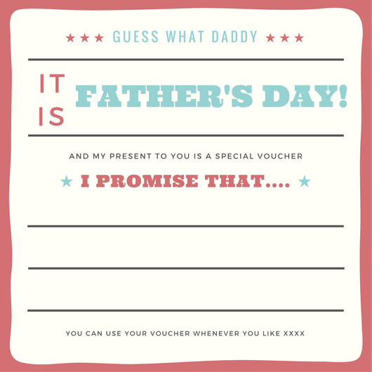 Free Father's Day printable gift voucher, low cost Father's Day presents,