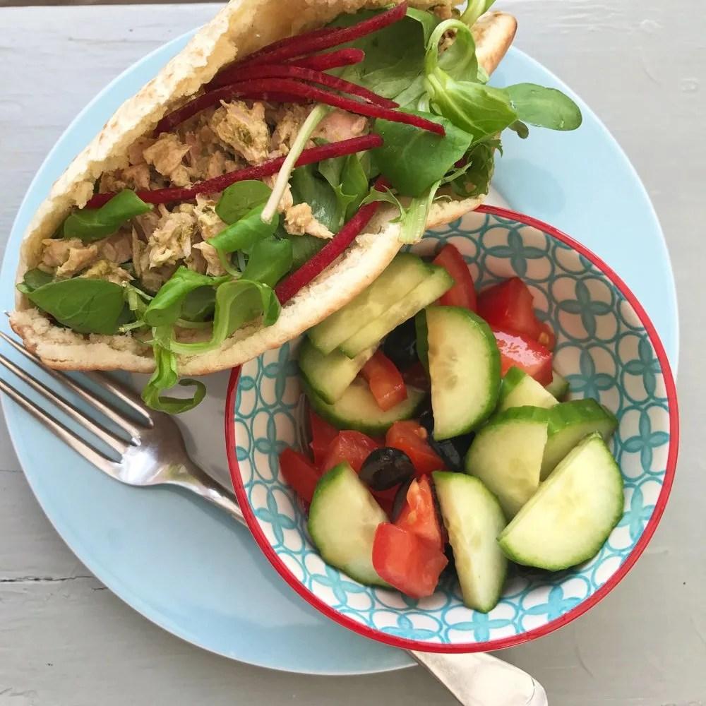 Tuna salad pitta bread, easy tuna salad recipe, quick lunch recipes