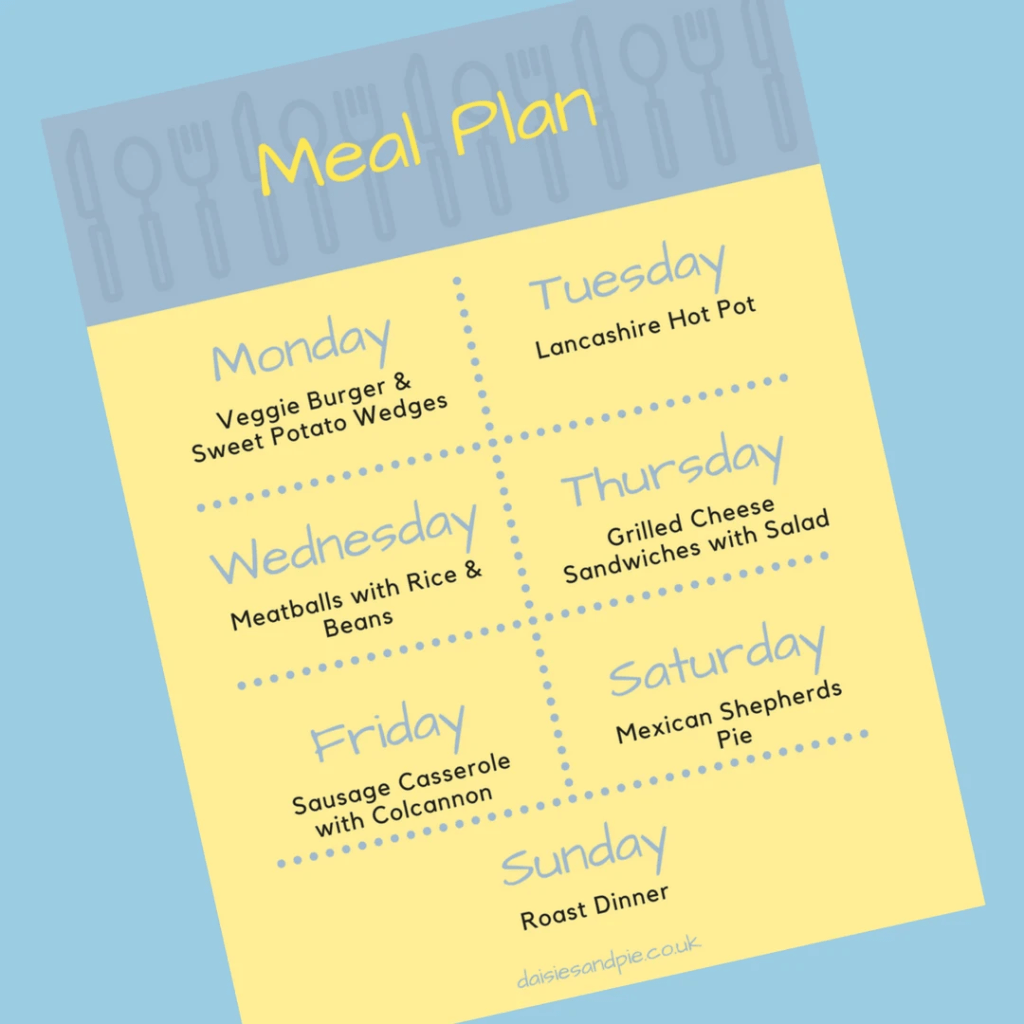 Weekly Family Meal Plan 4th December 2017