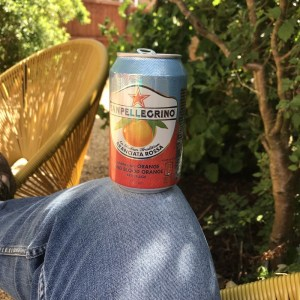 can of sanpellegrino sparkling blood orange being held on knee in the garden