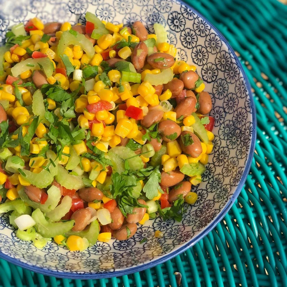 Bean Salad made with borlotti beans, sweetcorn, celery, red pepper, salad onions and Italian dressing.