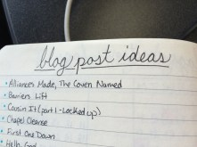 A short sample of my blog post ideas. I have them color coded for my different blogs. Most of these will be over on my memoir blog here on wordpress