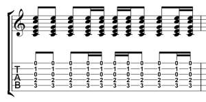 ギター16分音符入りストローク譜面