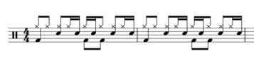 ドラムの一般的な8ビートリズム