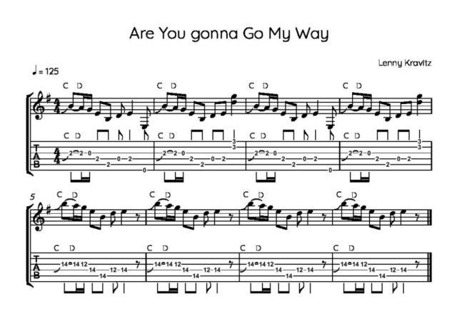 Lenny Kravitzの「Are You Gonna Go My Way」イントロ楽譜