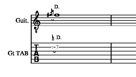 チョークダウンやり方説明2弦7フレット