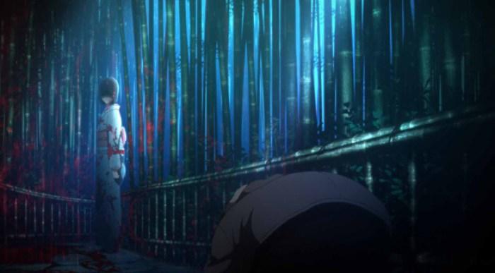 空の境界「殺人考察(前)」竹林にたたずむ両義式と対面する黒桐幹也