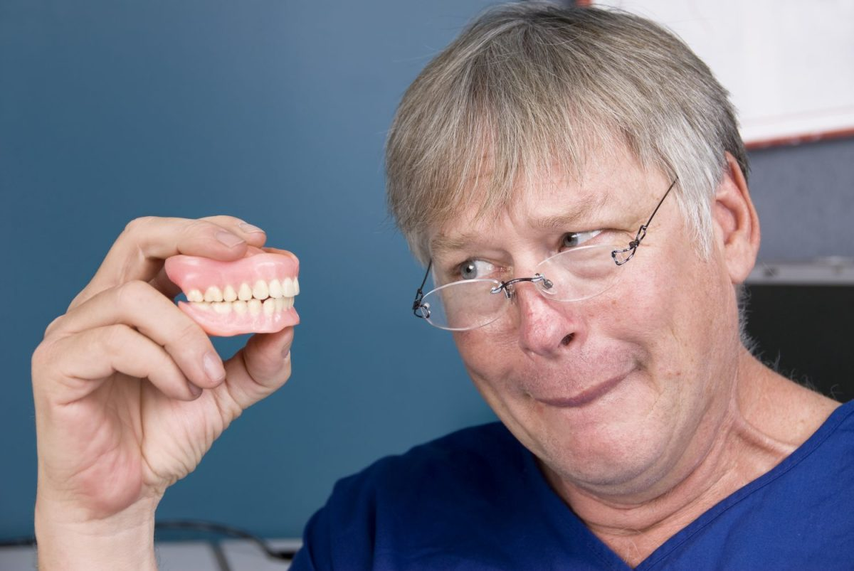 patient and his dentures in lake forest