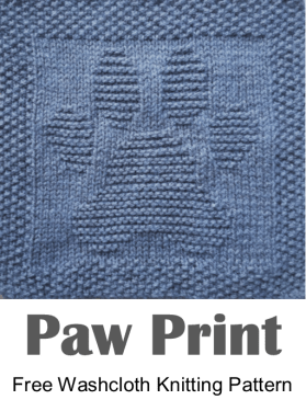 Free knitting pattern for paw print washcloth or dishcloth or afghan square