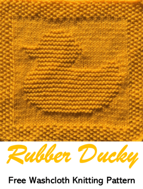 Free knitting pattern rubber ducky washcloth or dishcloth or afghan square