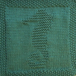 Free Knitting Pattern for Seahorse Washcloth, Dishcloth or Afghan Square