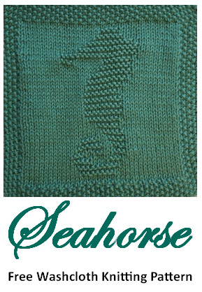 Free Knitting Pattern Seahorse Washcloth or Afghan Square