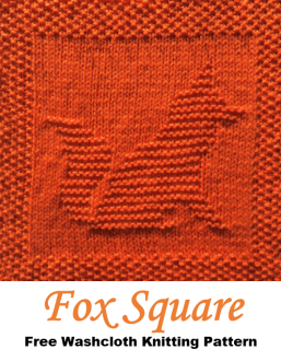 Fox washcloth dishcloth afghan square free knitting pattern