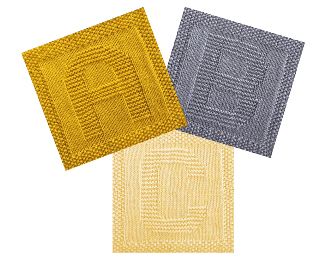 Free Alphabet Dishcloth or Afghan Squares Knitting Pattern