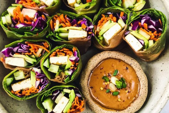 Tofu Summer Rolls with Peanut Dipping Sauce