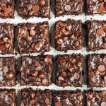 Fudgy almond butter zuchhini brownies with chocolate chips