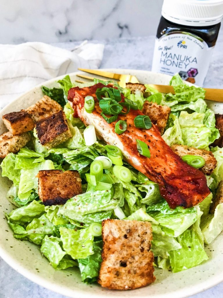 barbecue salmon caesar salad