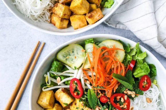 Peanut Tofu Vermicelli Rice Noodle Bowls with Quick Pickled Vegetables (Vegan, Gluten Free)