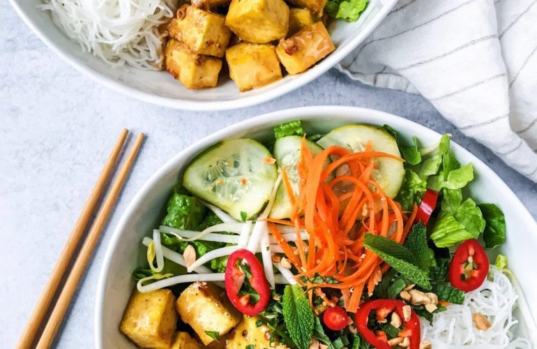 rice noodle bowls with peanut tofu and pickled vegetables