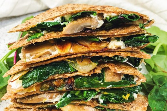 Spinach, Mushroom, and Caramelized Onion Goat Cheese Quesadilla