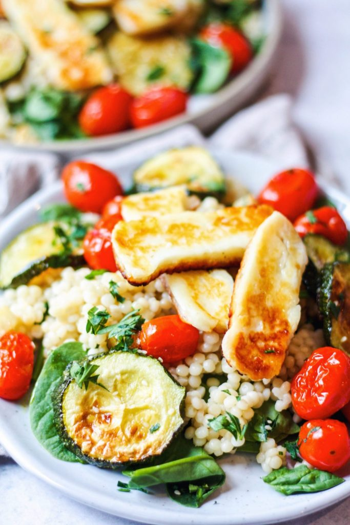 halloumi salad with roasted vegetables and couscous