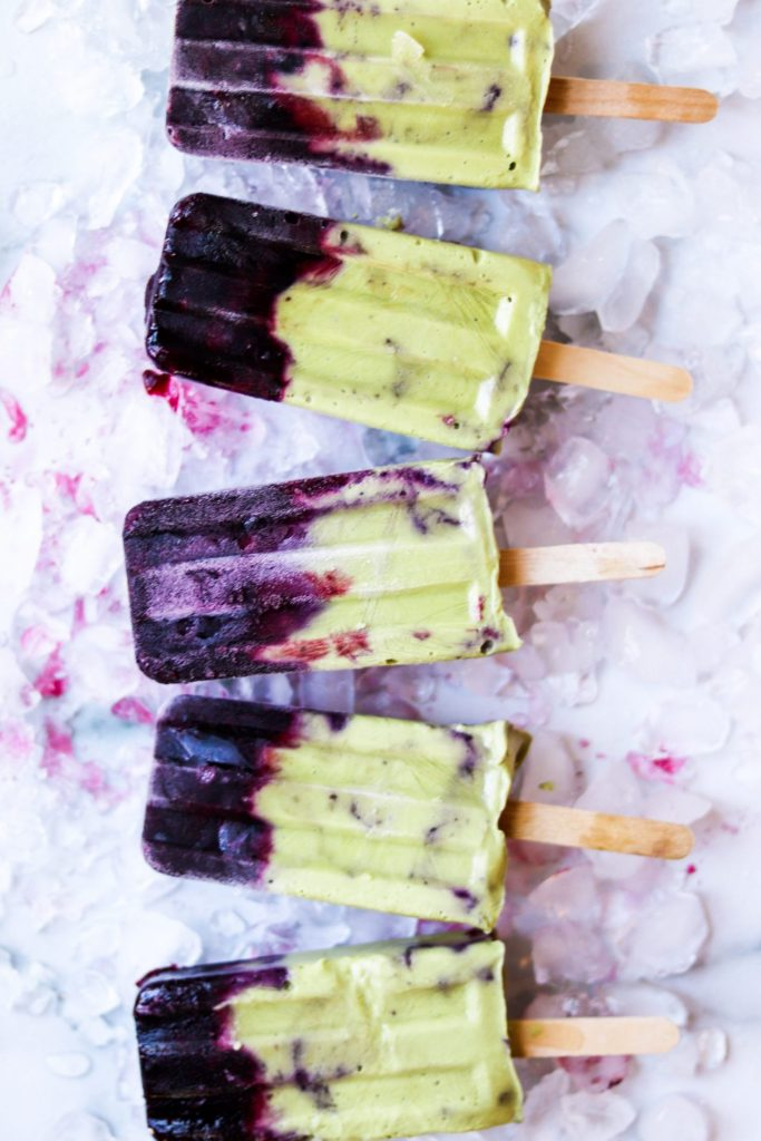 blueberry matcha avocado pops