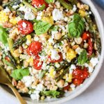 farro salad with roasted veg and feta grain salads