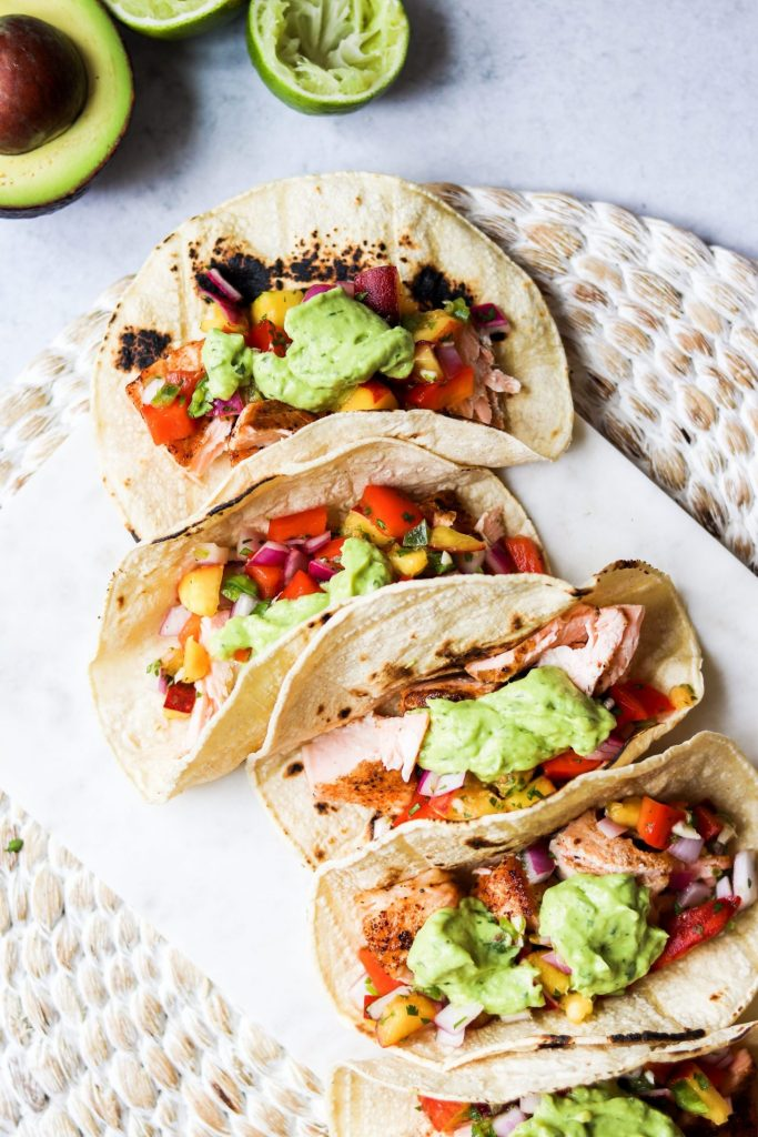 salmon tacos with peach salsa
