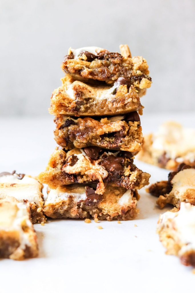 Stack of s'mores blondies