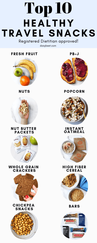 Healthy travel snacks infographic - Daisybeet