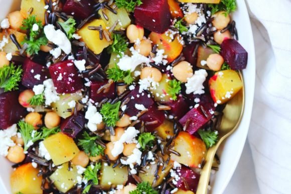 Roasted Beet and Goat Cheese Salad with Wild Rice and Chickpeas (Gluten Free)