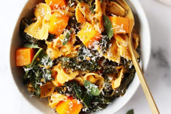 Butternut Squash and Kale Pasta with Parmesan Cheese (Gluten Free)