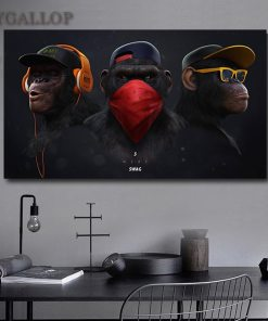 No Frame1 11.8x23.6 inch Wise Interesting Chimp Wall Art Canvas Print Headphone Monkey Animal Picture for Home Decor Canvas Paintings 30x60cm