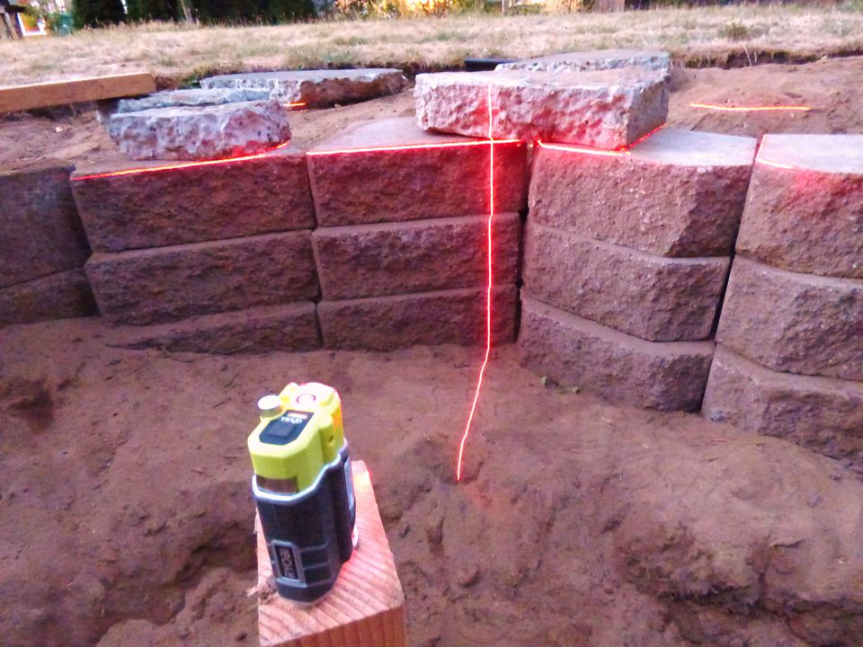 Device shooting pond level with laser level
