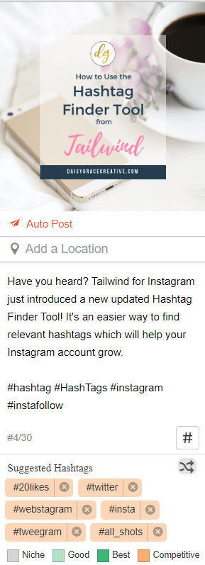Screenshot of Tailwind for Instagram